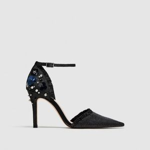 ZARA FLORAL D'ORSAY SHOES